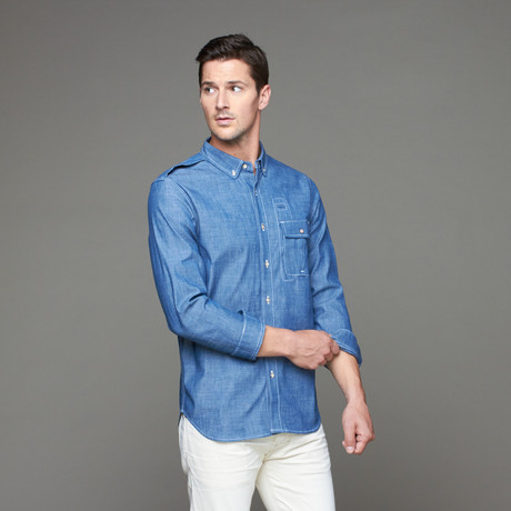 Willis II Woven Button-Down // Blue Chambray