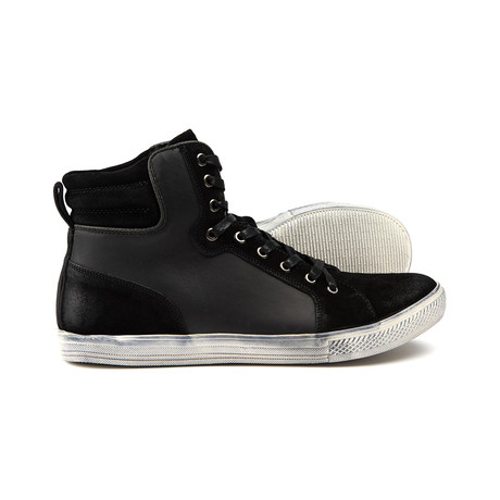 Jumps High Top Leather Sneaker // Black