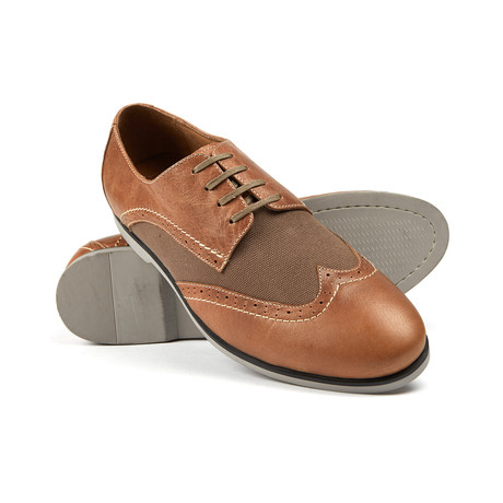 Swing Lace-Up Leather + Canvas // Tan
