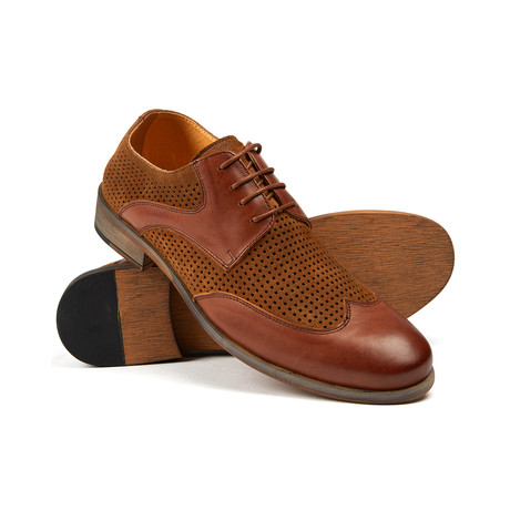 Fence Perforated Lace-Up // Tan