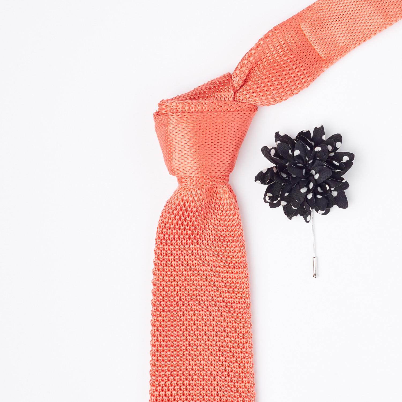 Silk knit tie lapel flower set coral chanman touch of modern silk knit tie lapel flower set coral mightylinksfo
