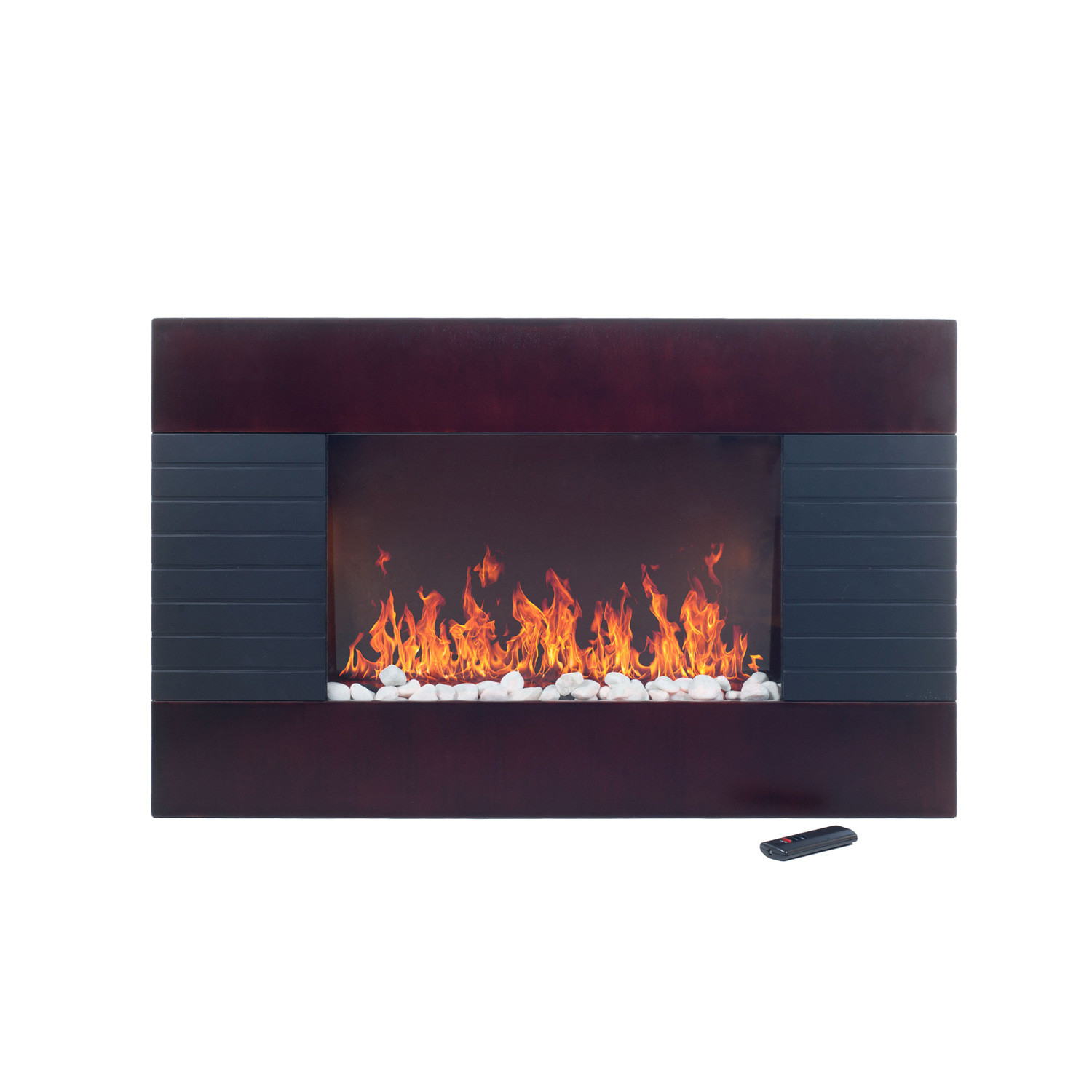 Bring the beauty and warmth of a fireplace to your living room with this stunning Mahogany Wood Trim Electric Fireplace Heater. Now you