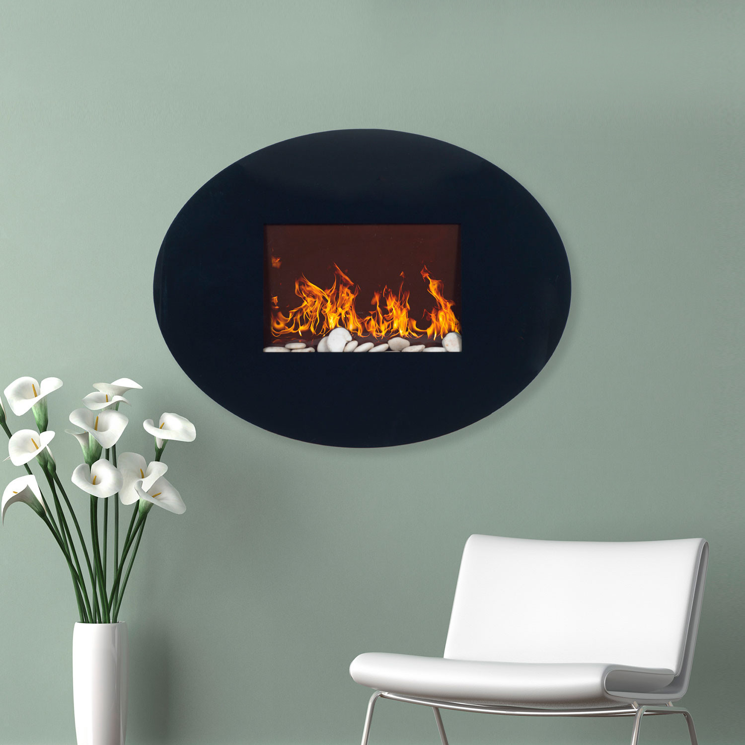 Northwest Wall Mounted Electric Fireplace Remote Oval Glass