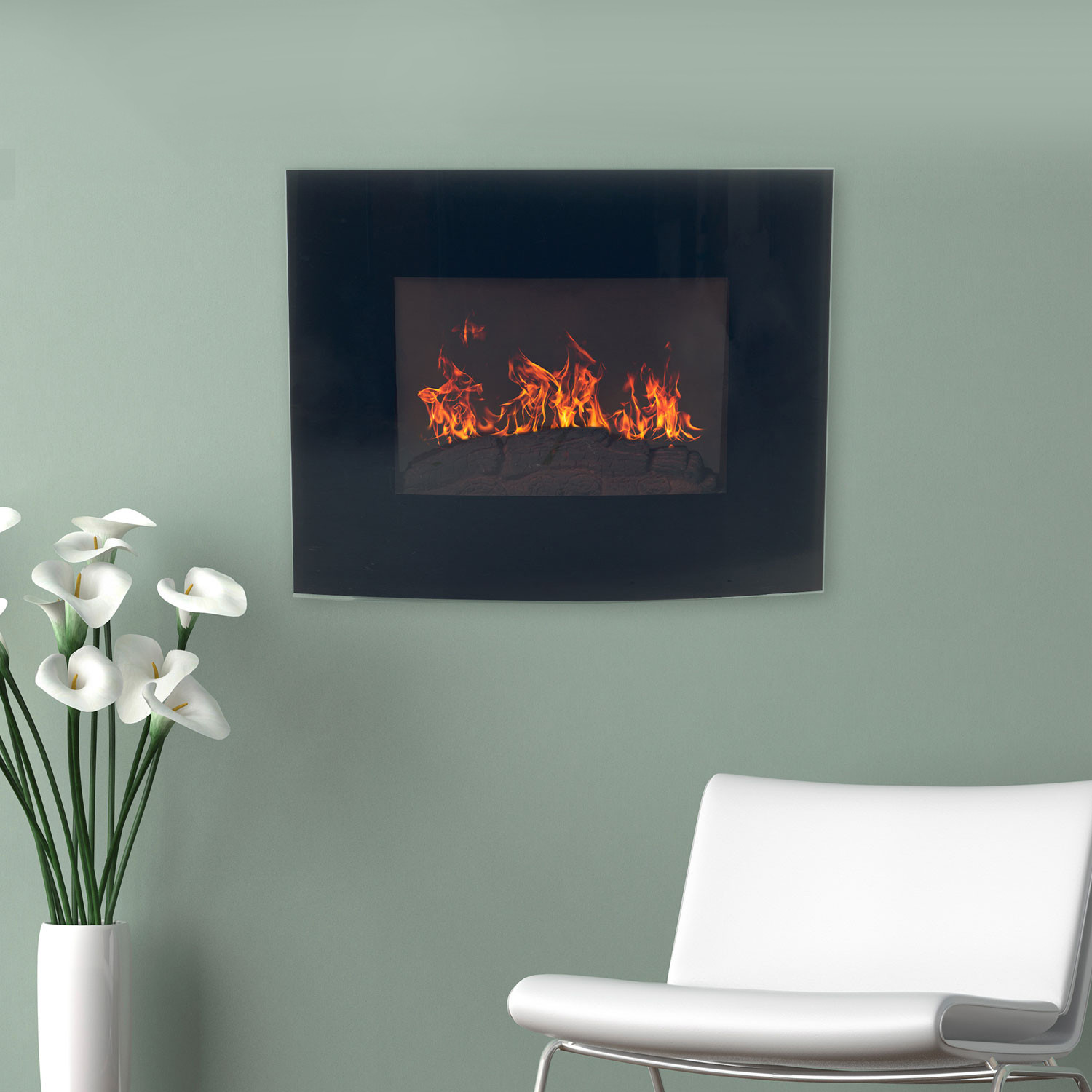 Northwest Wall Mounted Electric Fireplace + Remote // Curved Glass ...