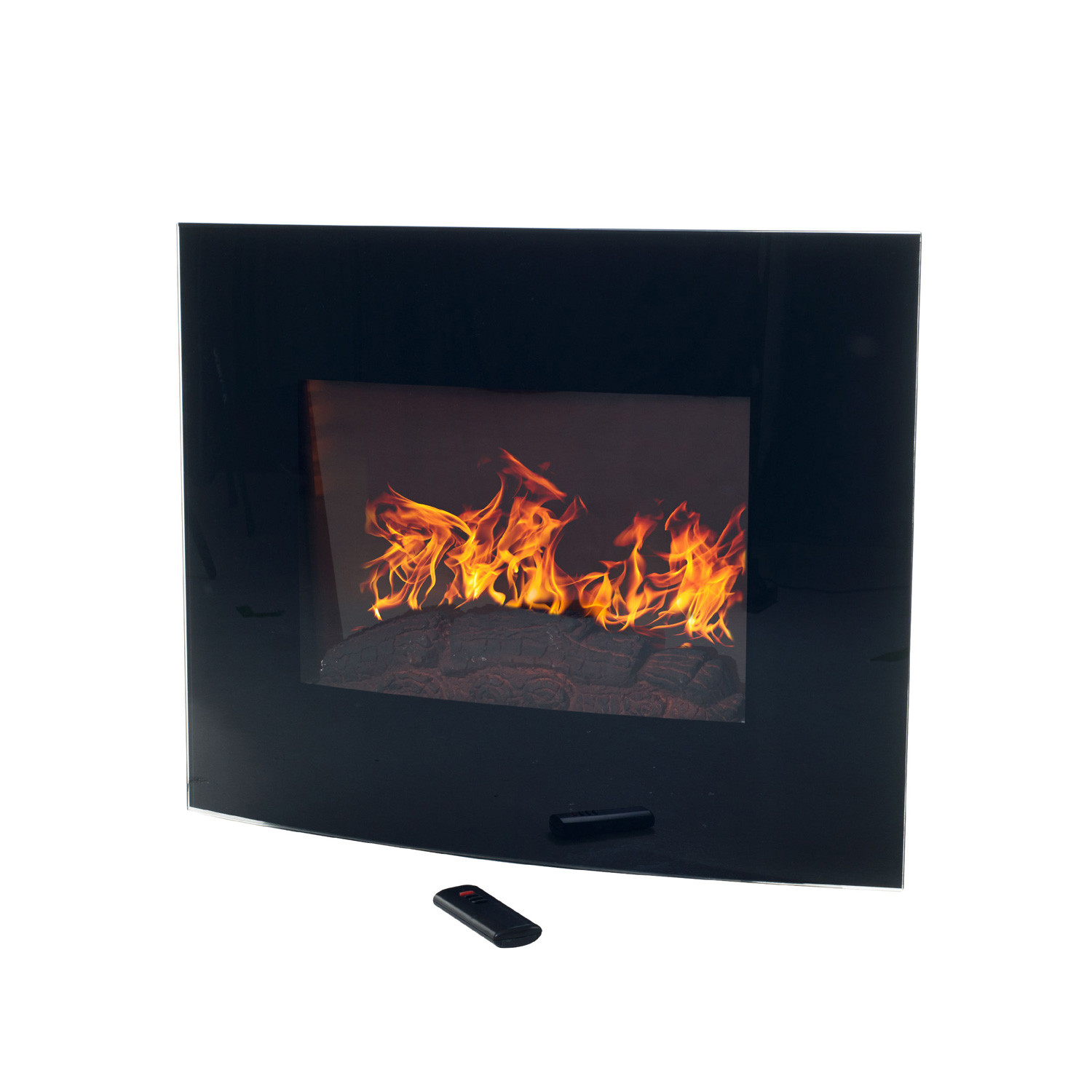 Northwest Wall Mounted Electric Fireplace + Remote // Curved Glass - Northwest Wall Mounted Electric Fireplace + Remote // Curved Glass