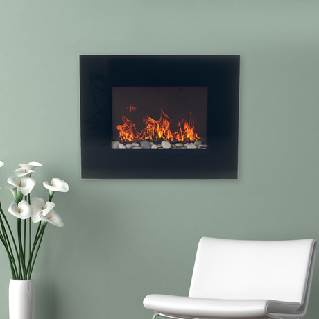 Northwest Wall Mounted Electric Fireplace Remote Glass Panel Sleek Electric Fireplaces