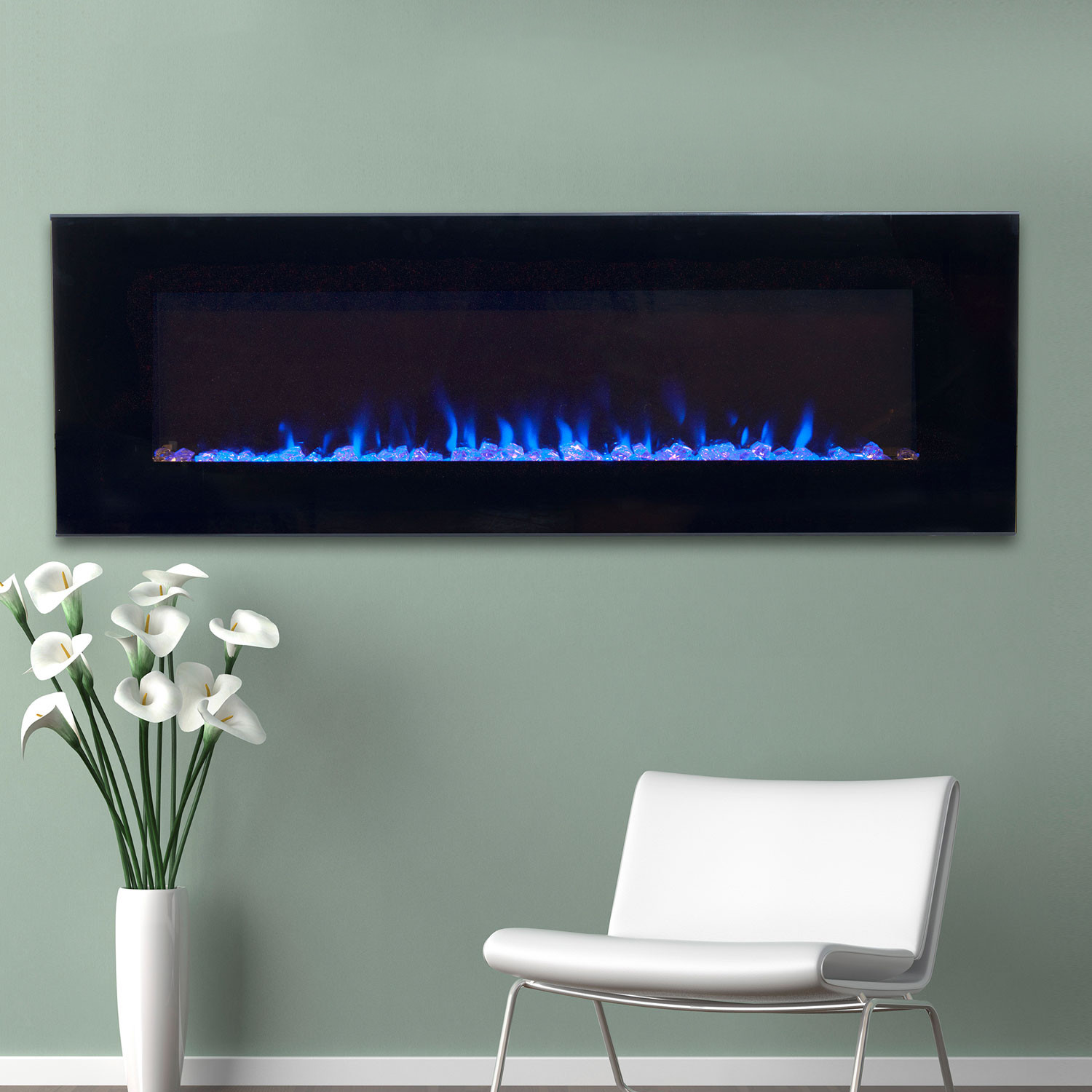 Form and function come together in this beautiful Wall Mounted Electric Fireplace Heater from Northwest. The sleek