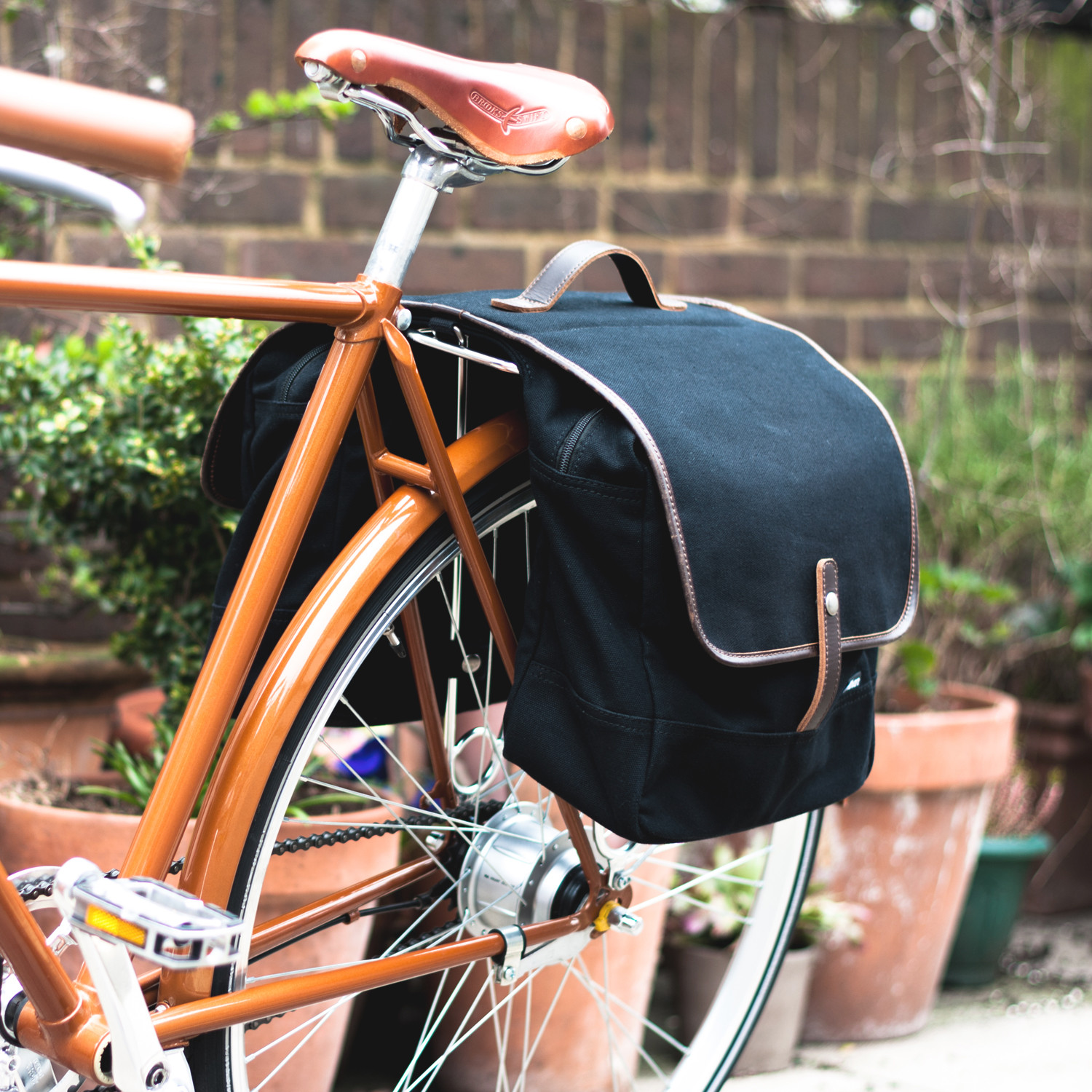 Double Pannier Bag Black Canvas Leather