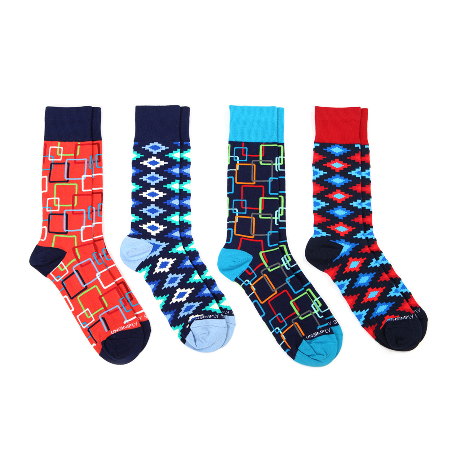 Dress socks vibrant shapes pack of 4 unsimply stitched touch