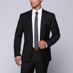 "Wool Two-Button Slim Fit Suit // Black (US: 32R / 26"" Waist)"