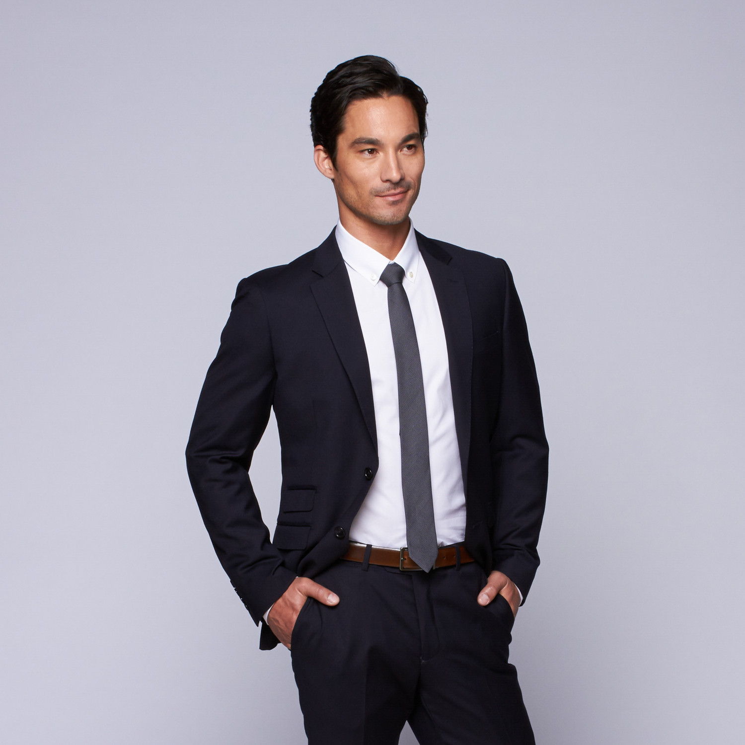 """Wool Two-Button Slim Fit Suit // Navy (US: 32R / 26"""" Waist ..."""