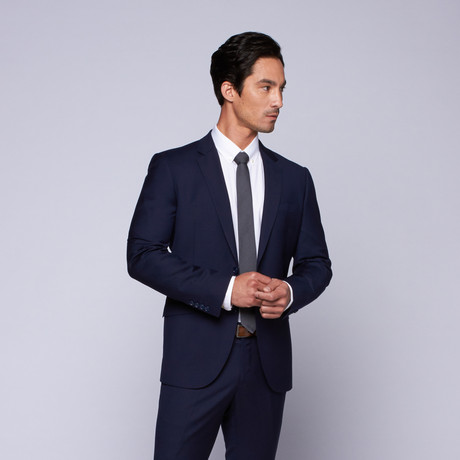 "Wool Two-Button Slim Fit Suit // Blue (US: 32R / 26"" Waist)"