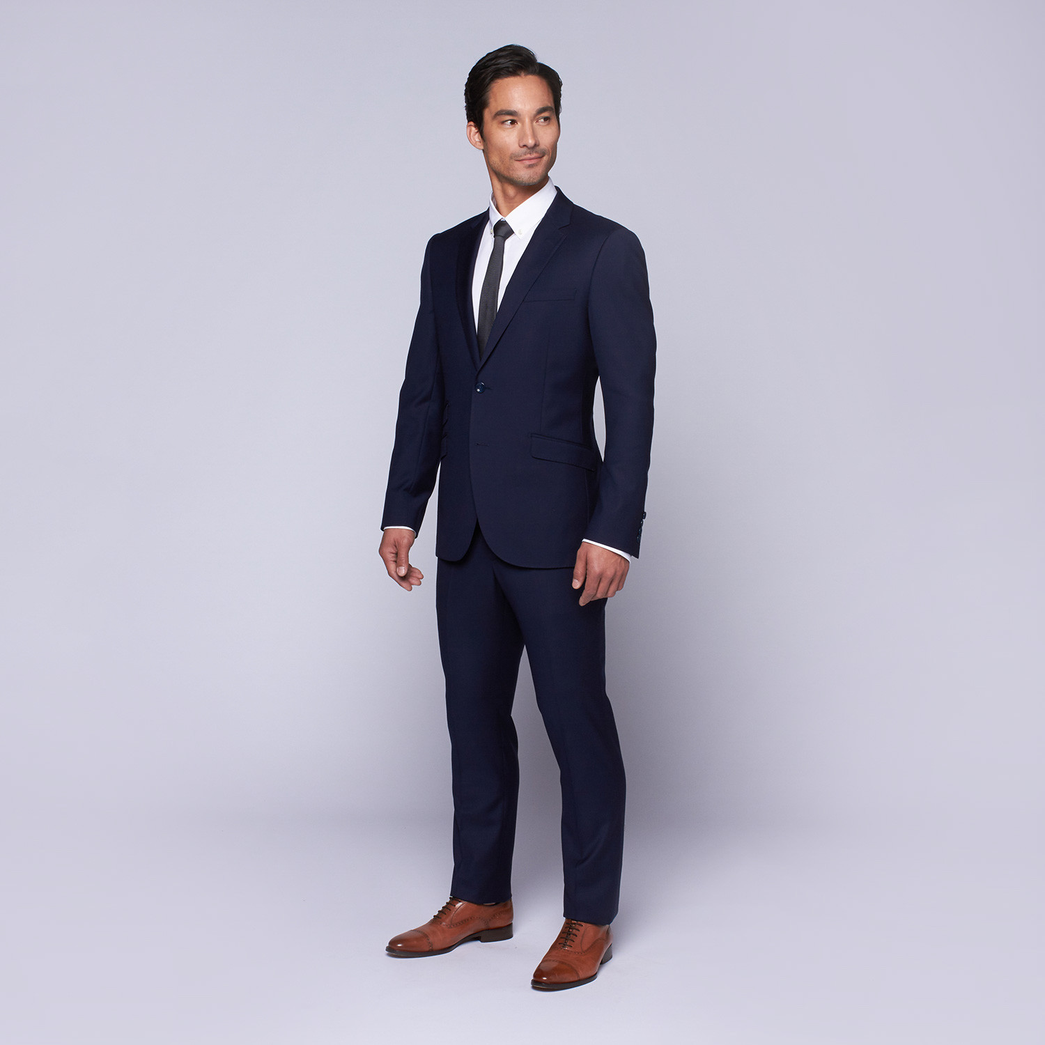 "Wool Two-Button Slim Fit Suit // Blue (US: 32R / 26"" Waist"