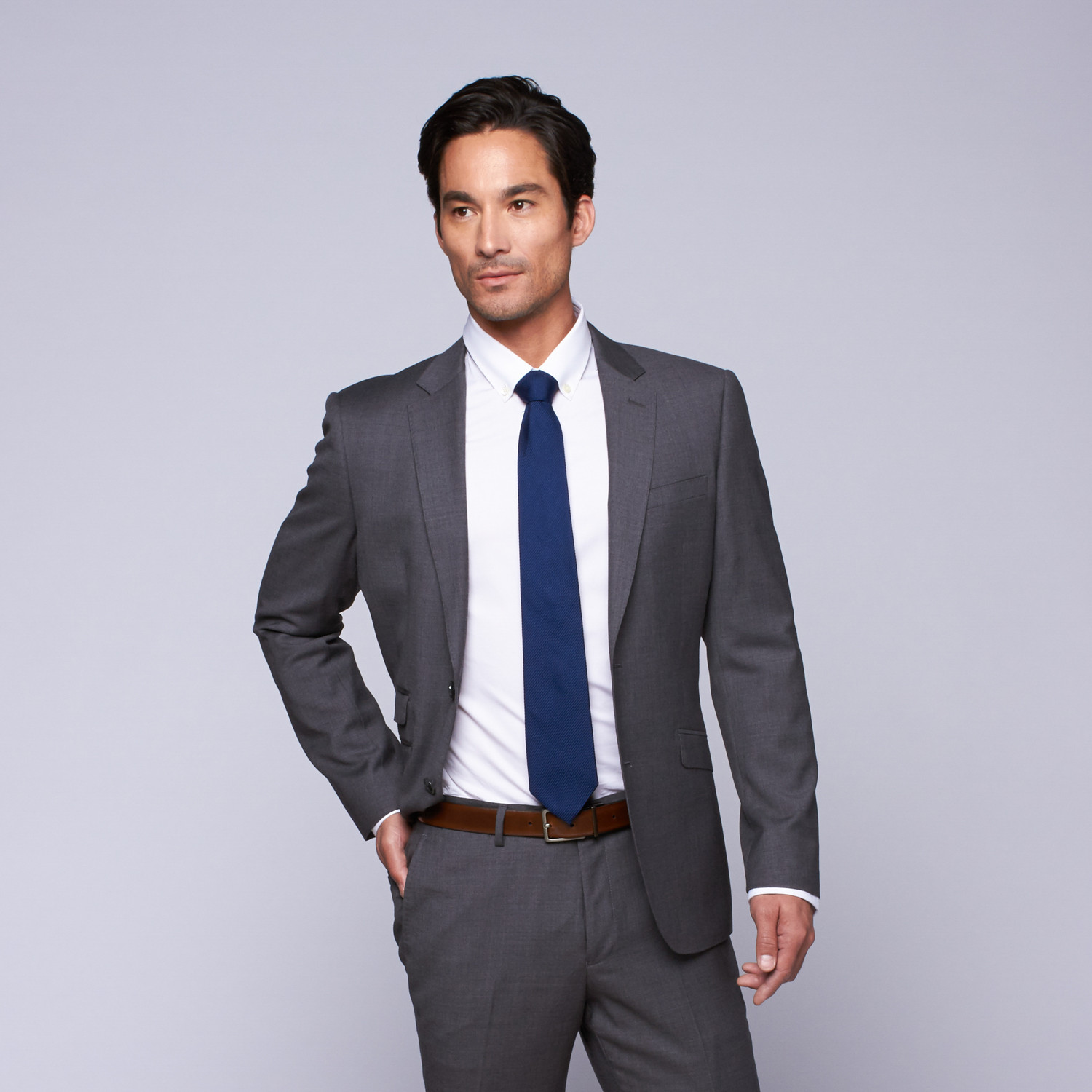 "Wool Two-Button Slim Fit Suit // Grey (US: 32R / 26"" Waist"