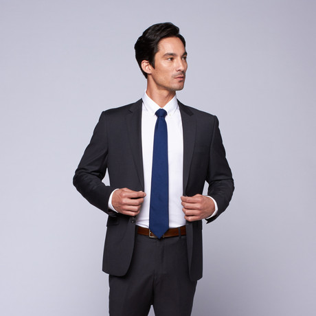 "Wool Two-Button Slim Fit Suit // Grey Mini Stripe (US: 32R / 26"" Waist)"
