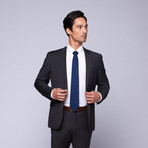 "Wool Two-Button Slim Fit Suit // Grey Mini Stripe (US: 36R / 30"" Waist)"