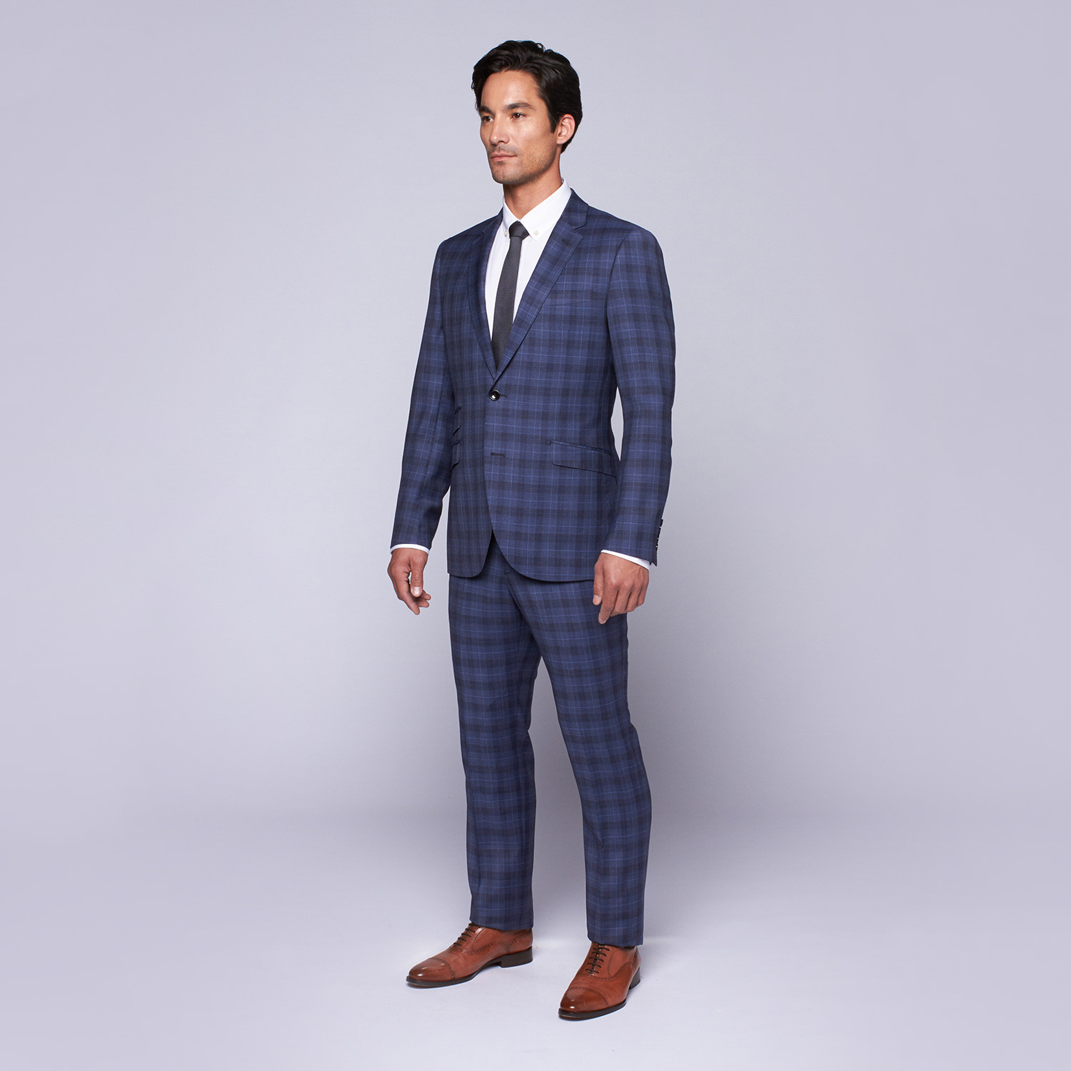 Wool Two-Button Slim Fit Suit // Blue Plaid (US: 42S / 36