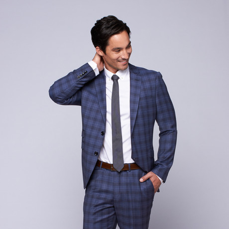"Wool Two-Button Slim Fit Suit // Blue Plaid (US: 32R / 26"" Waist)"