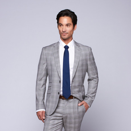 "Wool Two-Button Slim Fit Suit // Grey + Lavender Plaid (US: 32R / 26"" Waist)"