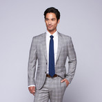 "Wool Two-Button Slim Fit Suit // Grey + Lavender Plaid (US: 38L / 32"" Waist)"