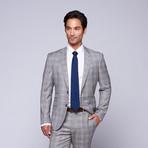 """Wool Two-Button Slim Fit Suit // Grey + Lavender Plaid (US: 38S / 32"""" Waist)"""