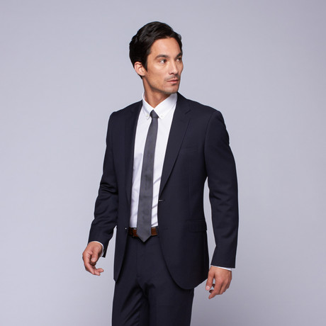 "Wool Two-Button Slim Fit Suit // Navy Mini Stripe (US: 32R / 26"" Waist)"