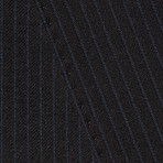 "Wool Two-Button Slim Fit Suit // Navy Mini Stripe (US: 38L / 32"" Waist)"
