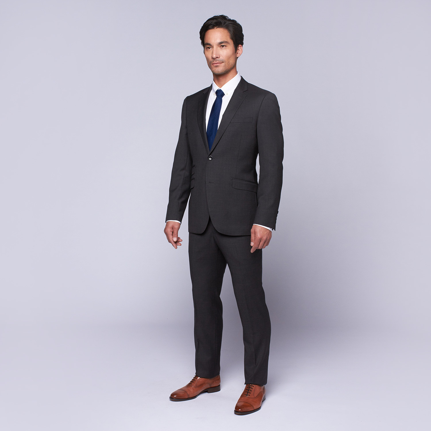 "Wool Two-Button Slim Fit Suit // Charcoal (US: 32R / 26"" Waist"