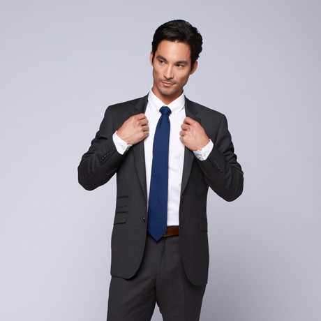 "Wool Two-Button Slim Fit Suit // Charcoal (US: 32R / 26"" Waist)"