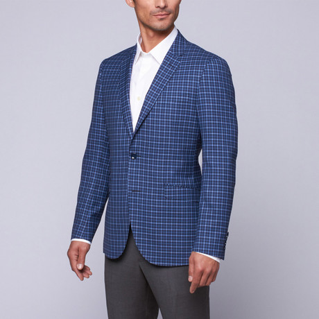 Trend Maxman // Wool Two-Button Slim Fit Sportcoat // Blue Check (US: 32R)