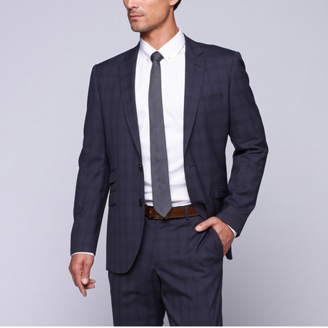 "Wool Two-Button Slim Fit Suit // Navy Plaid (US: 32R / 26"" Waist)"