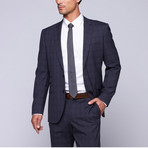 "Wool Two-Button Slim Fit Suit // Navy Plaid (US: 38L / 32"" Waist)"