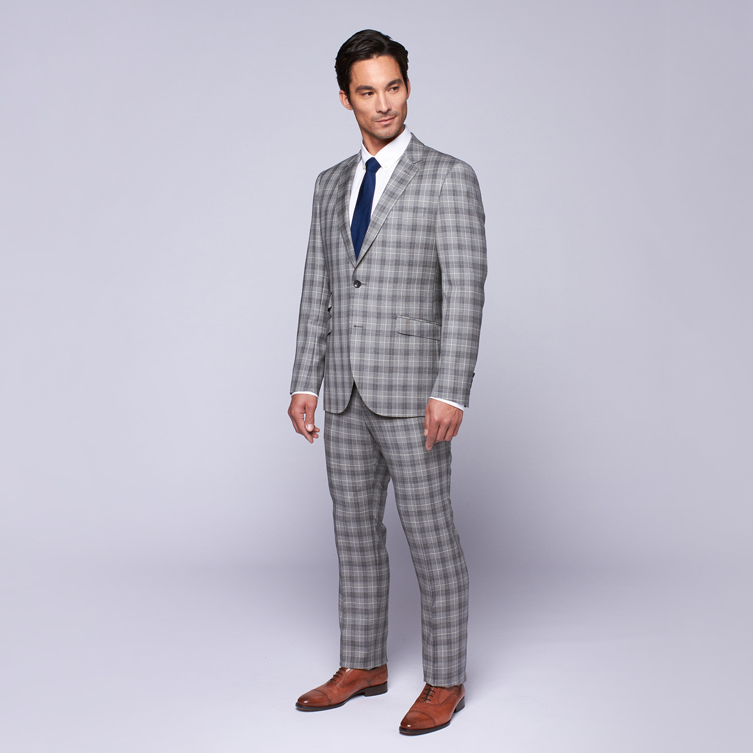"Wool Two-Button Slim Fit Suit // Grey Plaid (US: 44R / 38"" Waist"