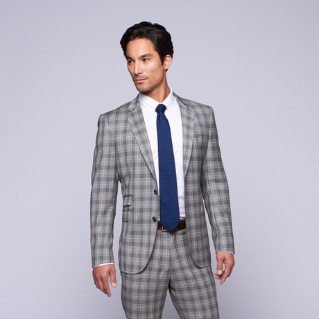 "Wool Two-Button Slim Fit Suit // Grey Plaid (US: 32R / 26"" Waist)"
