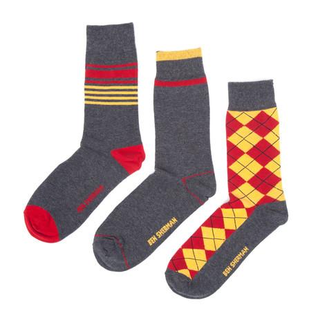 Benjamin Dress Sock 3-Pack // Charcoal