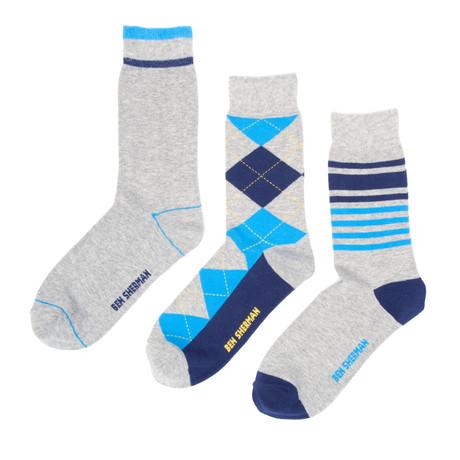 Benjamin Dress Sock 3-Pack // Heather Grey + Royal