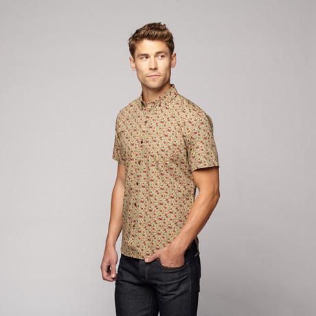 Poplin Print Shirt // Tan