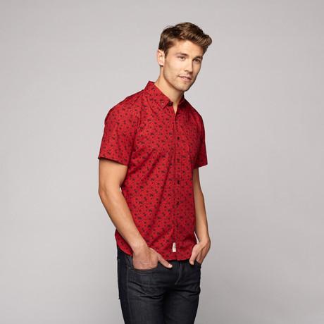 Poplin Print Shirt // Red