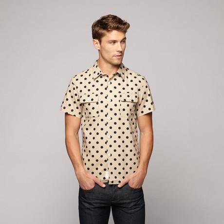 Mid-Century Poplin Shirt // Natural + Navy