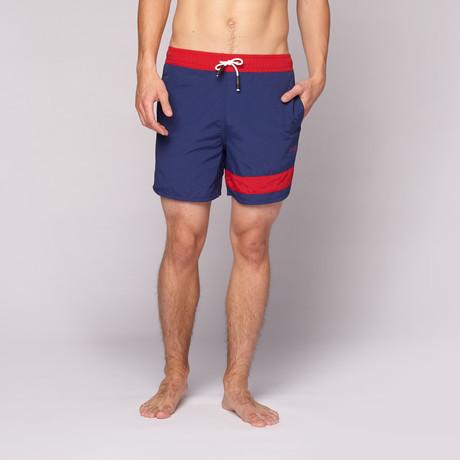 Striper Swim Short // Navy + Red
