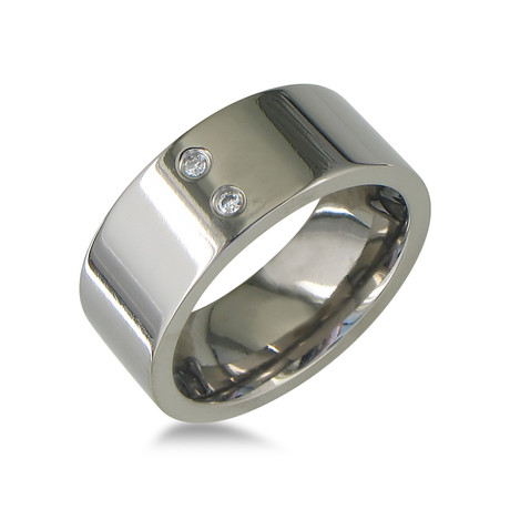 Modern Titanium Wedding Band // 2 Diamonds