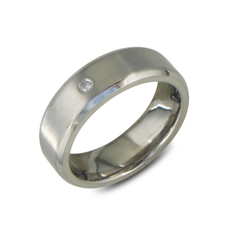 Modern Titanium Wedding Band // 1 Diamond