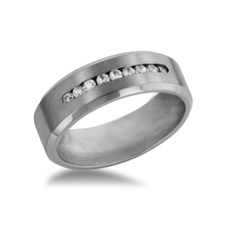 Titanium Wedding Band // 9 CZ