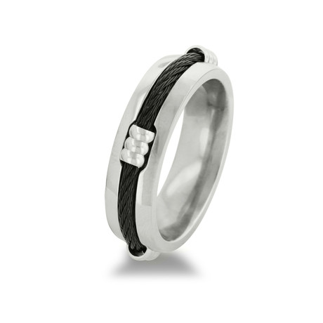 Titanium Wedding Band With Carbon Fiber Rope