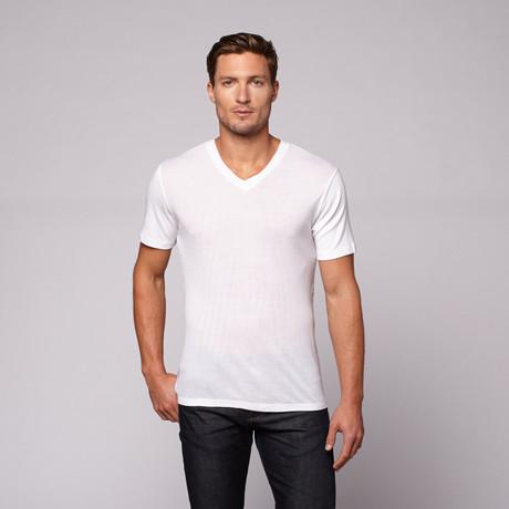 Ultra Soft Rib V-Neck // White