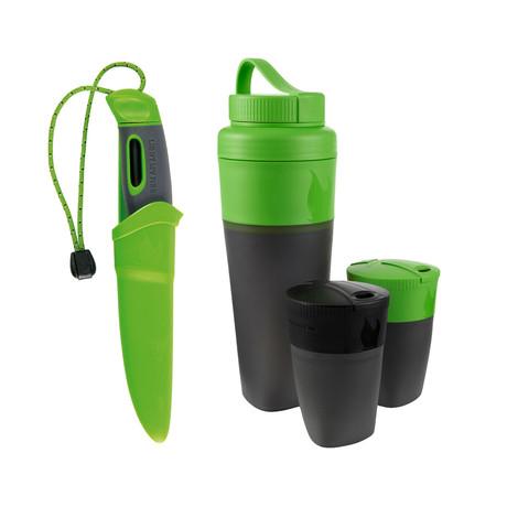 Swedish FireKnife + Pack-Up Drink Kit // Green