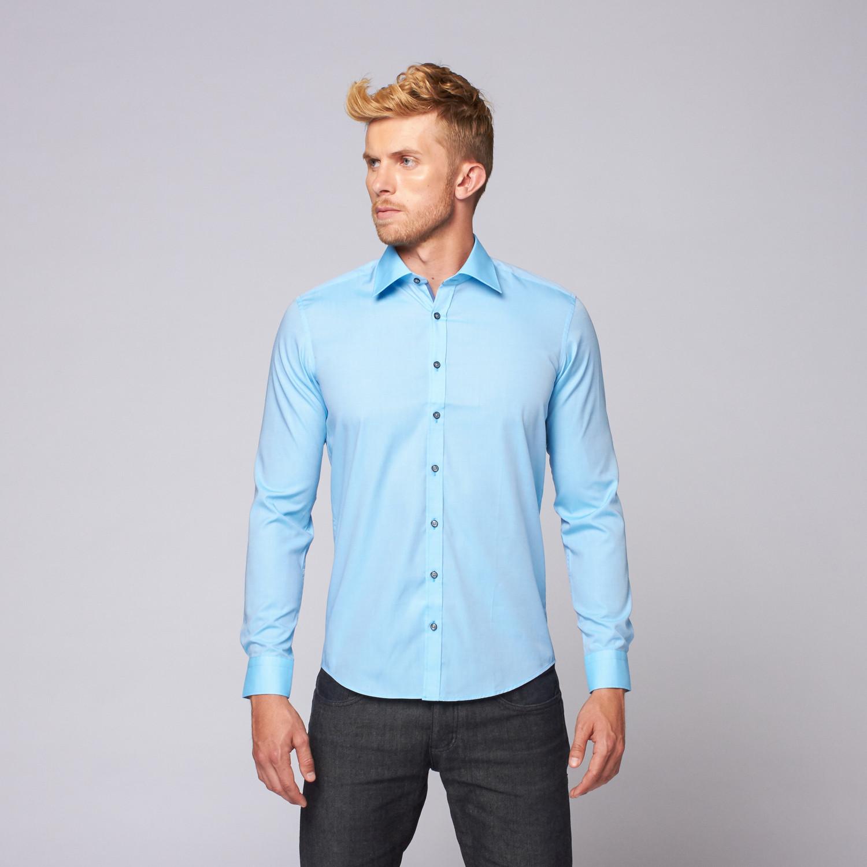 cotton button up shirt turquoise xs ron tomson ForCotton Button Up Shirt