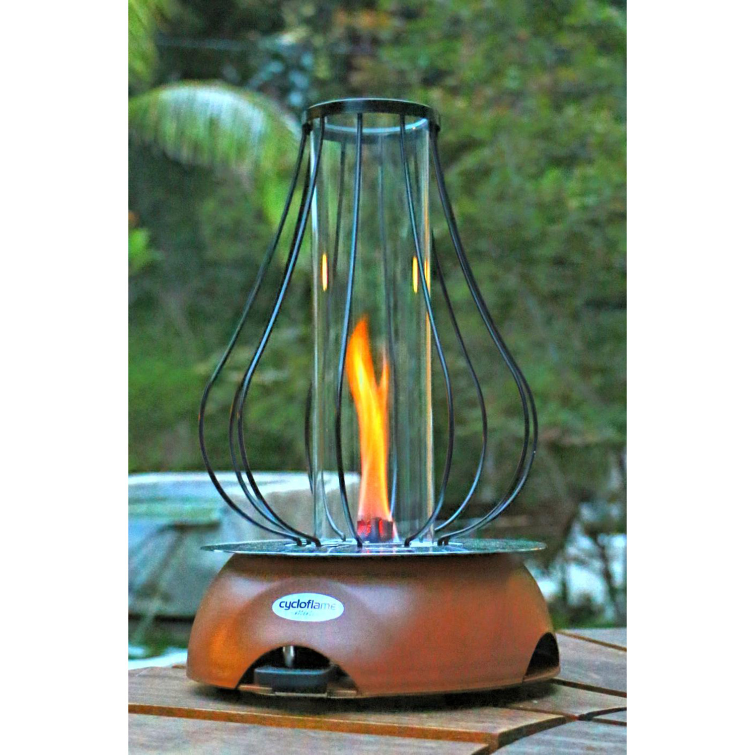biofuel tabletop fire pit rustic red