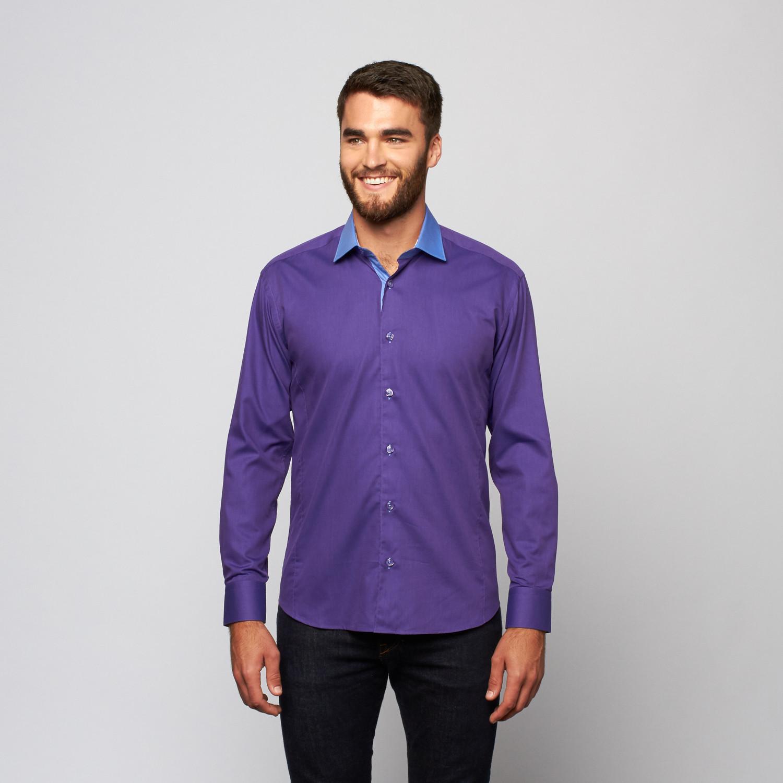 Oscar button up shirt purple blue s bertigo for Purple and blue shirt