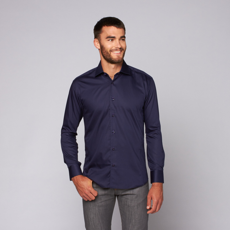Bento Button Up Shirt Navy S Bertigo Touch Of Modern